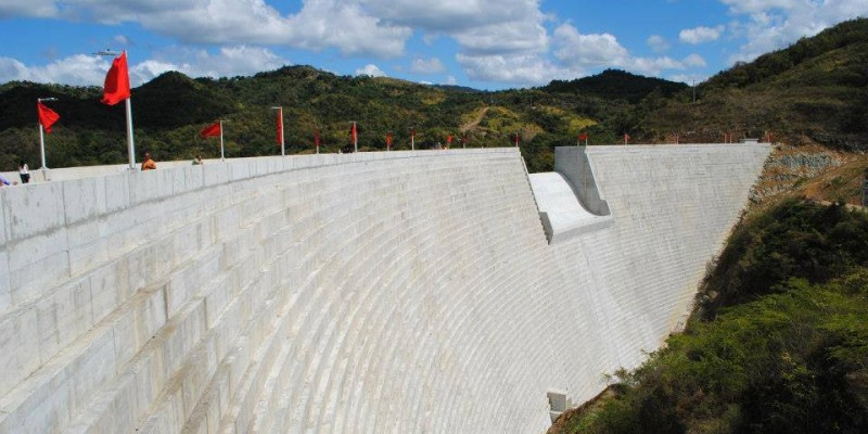 A view of the recently completed Portugues Dam as it looks before a dedication ceremony held on Feb. 5. The dam, located near Ponce, Puerto Rico, is designed to reduce the impacts of flooding along the Portugues River.
